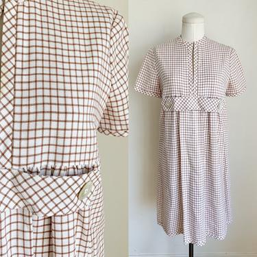 Vintage 1960s Brown & White Window Pane Shift Dress / M by MsTips