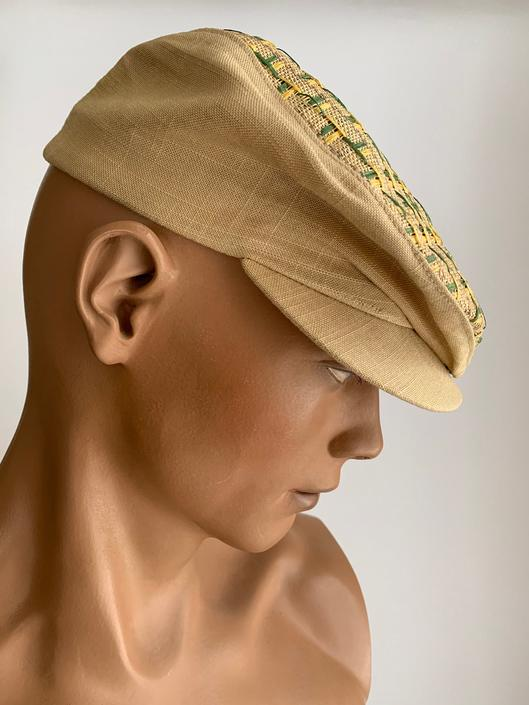 1950'S-60'S NEWSBOY CAP - Woven Straw & Linen - Cotton Sweatband  Size 7 = Small by GabrielasVintage