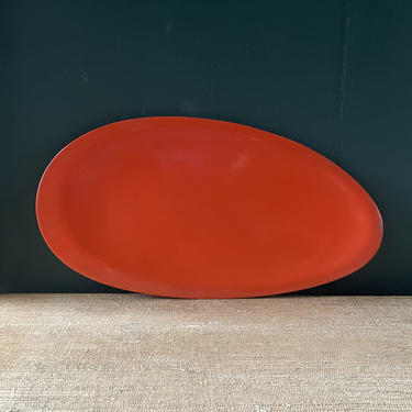 Vintage 1950s Lacquerware Japanese Oblong Tray Red Serving Platter Mid-Century by BrainWashington