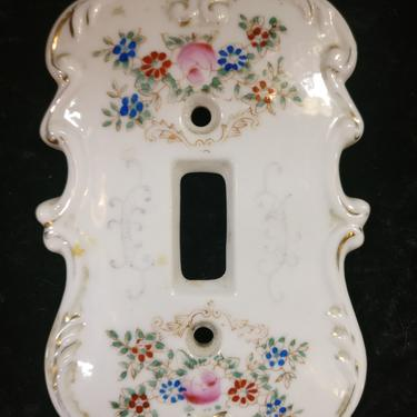 1950's Painted Porcelain Switchplate