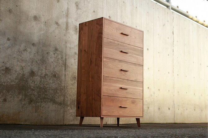 Highboy Dresser, Mid-Century Dresser, Modern Highboy, 5 Drawer Highboy, Solid Hardwood Dresser (Shown in Walnut) by TomfooleryWood