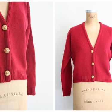 vintage 50s ladies cardigan sweater - 60s shetland wool sweater / Miss Gotham - burgundy cardigan sweater / 60s ladies wool cardigan by AgeofMint
