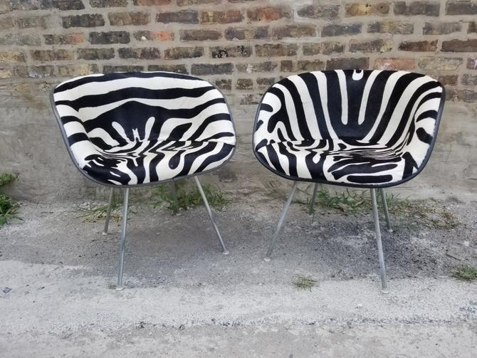 Vintage Mid Century Modern Rare Early Eames for Herman Miller Newly Upholstered Zebra Print Cow Hide La Fonda Chairs