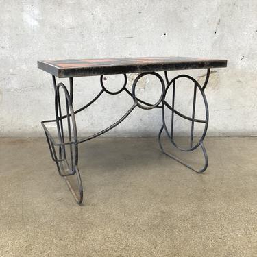 Gladding McBean Tile Table with Wrought Iron Base / Magazine Rack