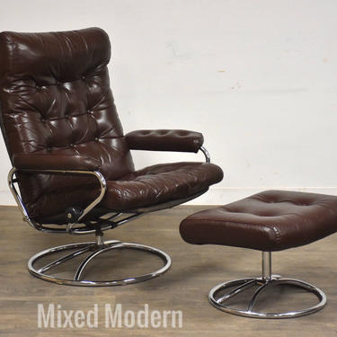 Ekornes Brown Leather and Chrome Reclining Lounge Chair and Ottoman by mixedmodern1