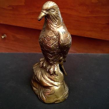 Vintage Brass Bird Desktop Statue Paperweight by BellewoodDesignGoods