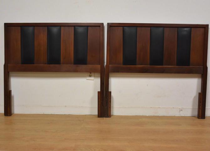 Walnut and Black Vinyl Twin Headboards - A Pair by mixedmodern1
