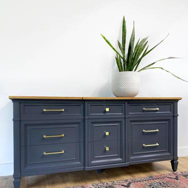 AVAILABLE - Thomasville Dark Gray Dresser with Wood Top by JulieSimpleRedesign