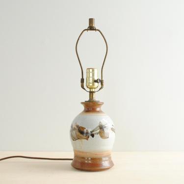 Vintage Stoneware Pottery Lamp, Ceramic Table Lamp, Neutral Art Pottery Lamp, Brown Lamp, Studio Pottery Table Lamp by LittleDogVintage