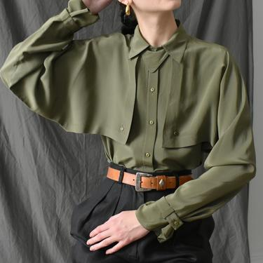 vintage olive silk blouse / 80s long sleeve button down shirt / M by ImprovGoods