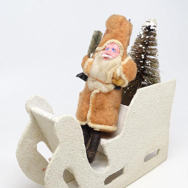 Antique 1940's Santa in German Sleigh with Christmas Tree, Hand Painted Clay Face Santa, Vintage Retro Decor by exploremag
