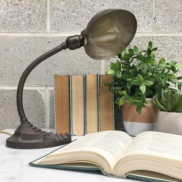 Vintage Desk Lamp Retro 1940s Eagle + Brass + Goose Neck + Cast Iron + Industrial + Art Deco + Adjustable + Lighting + Home and Table Decor by RetrospectVintage215
