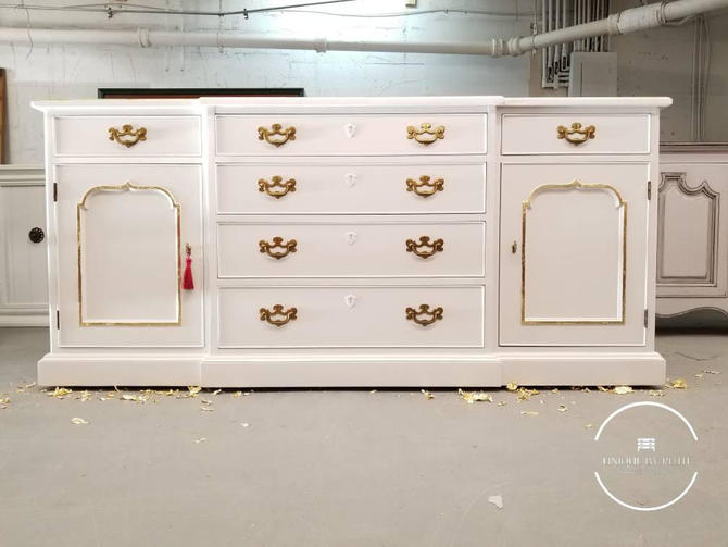 White Credenza with gold leaf accents / buffet table by UniquebyRuth