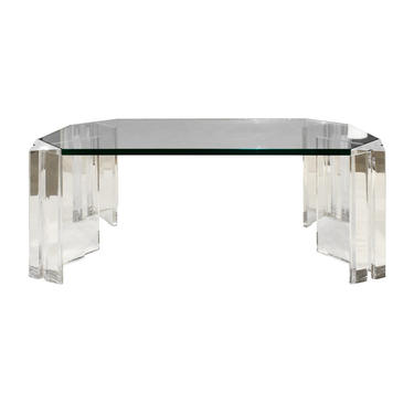 Les Prismatiques Sculptural Coffee Table in Lucite and Glass 1970s (signed)