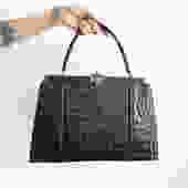 Vintage 50's Large Black Alligator Handbag/ Oversized Structured Top Handle Purse by bottleofbread