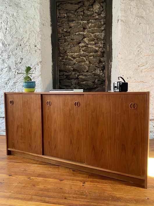 Mid century console cabinet Danish modern teak credenza mid century modern media cabinet by VintaDelphia