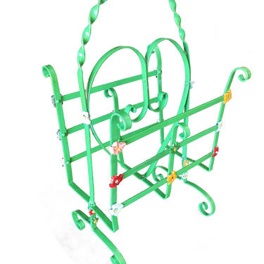 Wrought Iron Heart Floral Accent Magazine Stand by HarveysonBeverly
