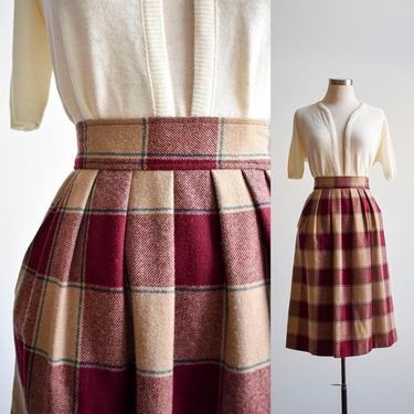 Vintage Maroon Plaid Wool Pendleton Skirt by milkandice