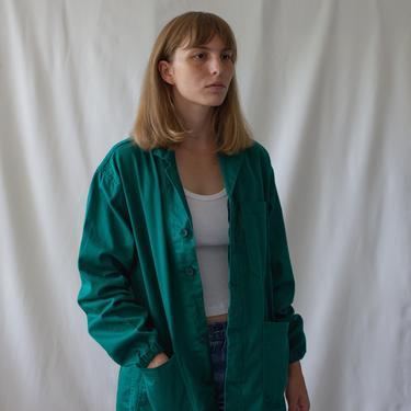 Vintage Emerald Green Chore Coat   Gathered Cuffs   Unisex Cotton Workwear Jacket   Utility Work   Made in Italy   M   IT025 by RAWSONSTUDIO