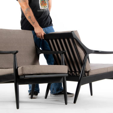 Gorgeous Set of Danish Modern Mid Century Lounge Chairs in Black with Knit Stone Grey Upholstery by ABTModern