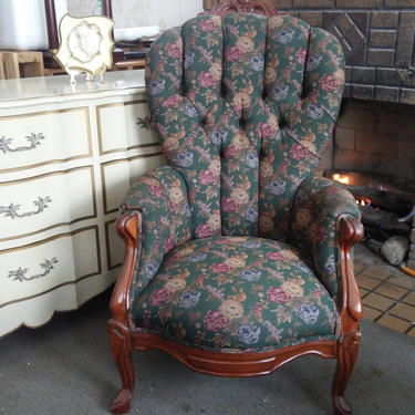 ANTIQUE French Provincial Style Victorian Tufted Parlor Chair with CARVED DETAILING Solid Wood Construction by 3GirlsAntiques