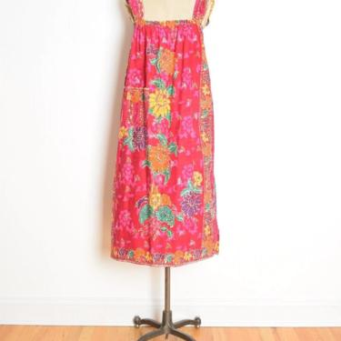 vintage 80s dress magenta floral batik print hippie boho babydoll midi tent clothing by huncamuncavintage