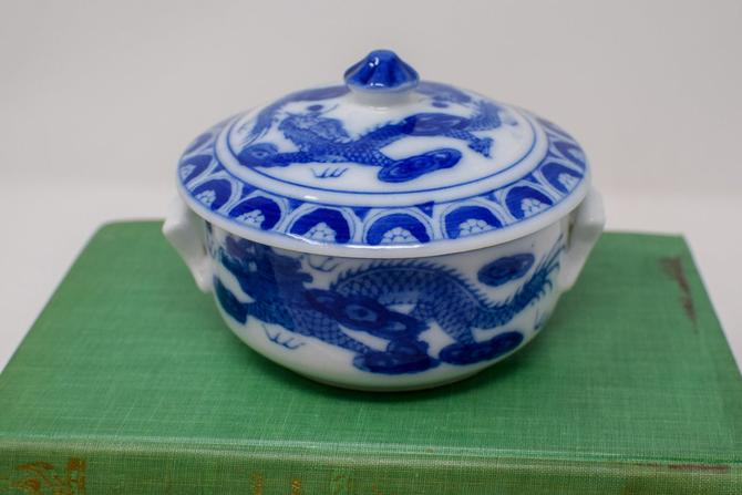 Blue and White Chinoiserie Lidded Trinket Dish/ Catchall / Bowl with Handles by CapitolVintageCharm