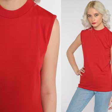 Red Muscle Tee Shirt 80s Tank Top Tee Retro Shirt Plain Sleeveless Top 1980s Plain Vintage Single Stitch Retro Small by ShopExile