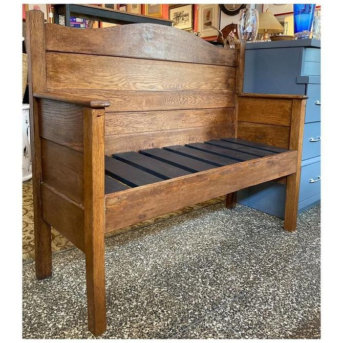 "Oak wood bench / made from an old bed headboard 55.5"" wide / 19.5"" deep / 30"" height- armrest/ 18.3"" height-seat"