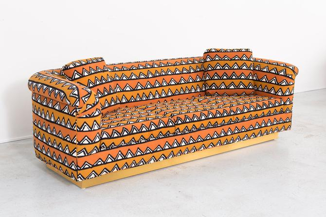 Rounded Barrel Back Brass Platform Sofa Reupholstered in African Mud Cloth by MatthewRachman