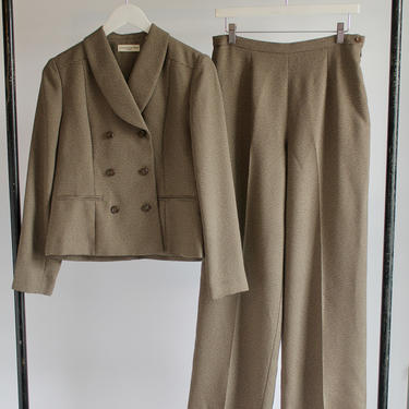 1980's Pant Suit High Waist Wide Leg Pants and Cropped Double Breasted Jacket Size 8 Tan & Brown by BeggarsBanquet