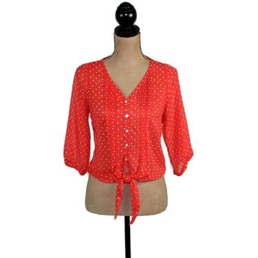 Y2k Orange Polka Dot Chiffon Blouse Small, Pintuck Tie Front Crop Top, Sheer Button Up See Through Print Shirt, Casual Clothes for Women by MagpieandOtis