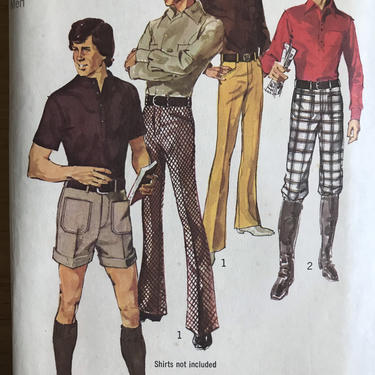 Vintage Simplicity 9529 Mens Pants Pattern | 70s Menswear Pants Knickers and Short Sewing Pattern by blindcatvintage