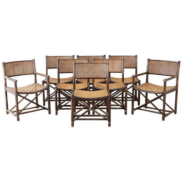 Set of Eight McGuire Bamboo Rattan Cane Dining Chairs by ErinLaneEstate
