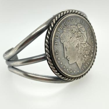 Vintage 1921 Lady Liberty Coin Sterling Silver Cuff Bracelet Taos Pueblo Marked FT by HouseofVintageOnline