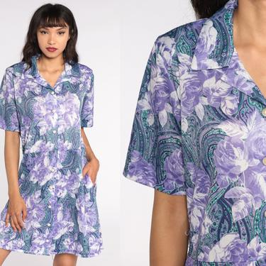 80s Floral Dress Purple White Mini Boho Paisley Dress Short Sleeve Button Up Dress Vintage 1980s High Waisted Bohemian Large L by ShopExile