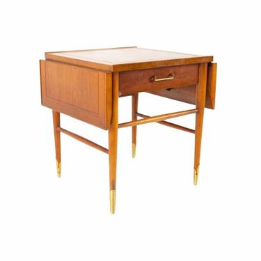 Lane Copenhagen Mid Century Modern Walnut And Brass Drop Leaf Side End Table, Mid Century Modern Home, Vintage Side Table, 1950s Vintage by VivaLaVintagedotTX