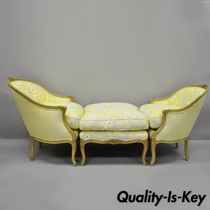 French Louis XV Style Duchesse Brisee Chaise Pair Bergere Chairs & Ottoman