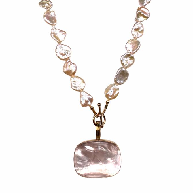 Italian Glass and Pearl Toggle Necklace