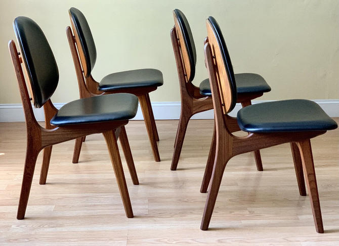 Free and Insured Shipping Within US - Set of 4 Arne Hovmand Danish Mid Century Modern MCM Dining Table Room Chairs by BigWhaleConsignment