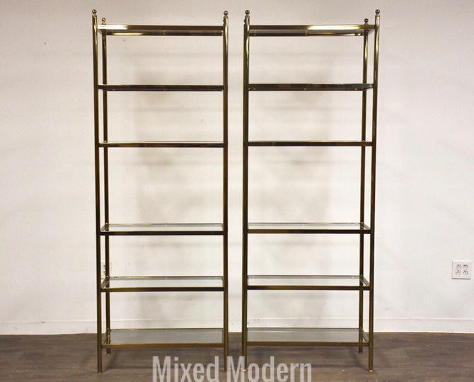 Hollywood Regency Style Brass Etageres- a pair by mixedmodern1