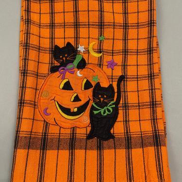 Vintage Halloween Tea Towel Black Cats and Pumpkin Jack O' Lantern by sevenbc