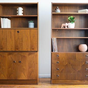 Vintage MCM Pair of Teak Bookcases / Storage Cabinets with Hidden Desk by blinkmodern