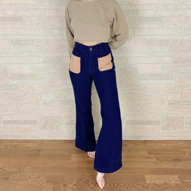 60's Vintage Corduroy Two Tone Bell Bottom Pants / Size 29 30 by NoteworthyGarments