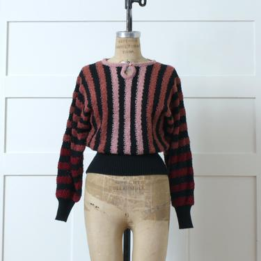 vintage late 1970s dolman sleeve sweater • textured pullover in black & pink stripes by LivingThreadsVintage