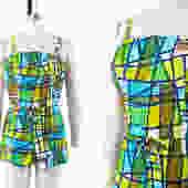 Vintage 1960s Romper | 60s Geometric Mosaic Green Cotton Playsuit (medium) by BirthdayLifeVintage