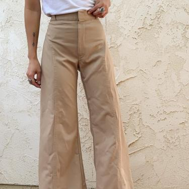 Vintage 70's Angel's Flight Khaki Bell Bottom High Waisted Pants by CottontailTrdPost