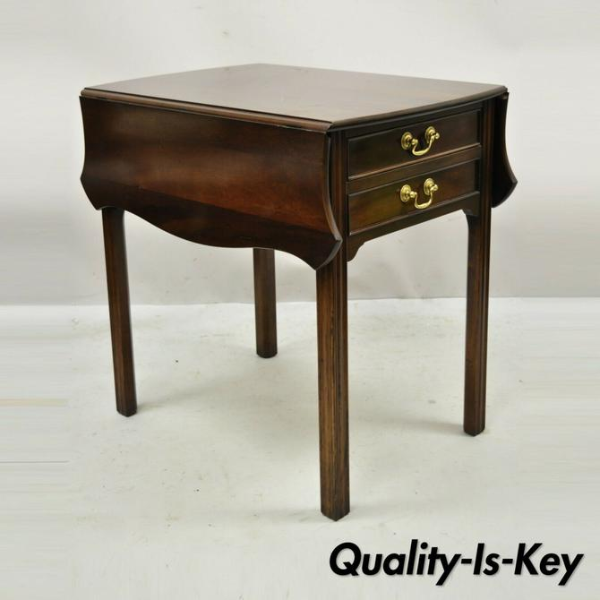L & J G Stickley Georgian Solid Mahogany Drop Leaf Pembroke Lamp Side Table
