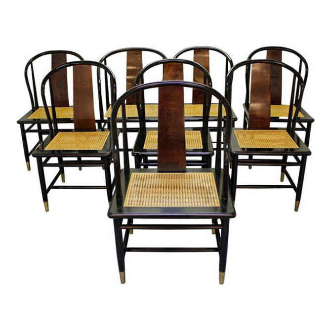 Set of 8 Mid-Century Asian Modern Henredon Black Lacquer Cane Dining Chairs  by AnnexMarketplace