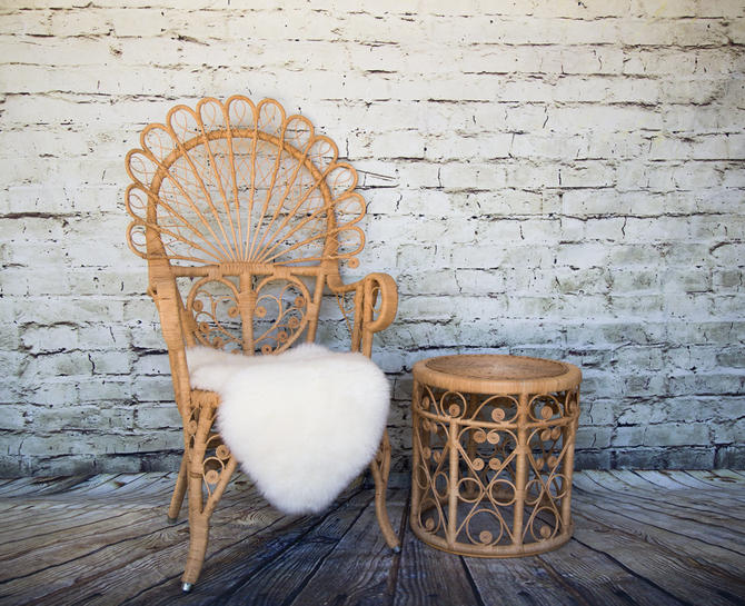 SHIPPING NOT FREE!!! Vintage Rattan Peacock Armchair/Ornate Peacock Chair/Vintage Woven Rattan Peacock by WorldofWicker